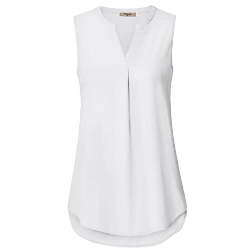 Women's White Sleeveless Blouse: Amazon.c