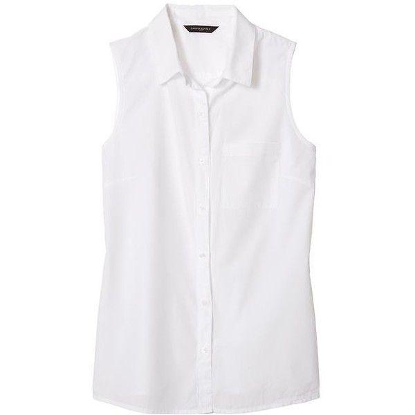 Banana Republic Women Factory Sleeveless Poplin Button Up Shirt .