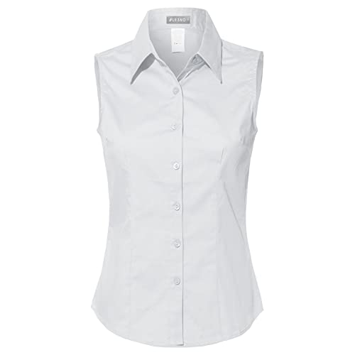 Women's White Cotton Sleeveless Blouse: Amazon.c