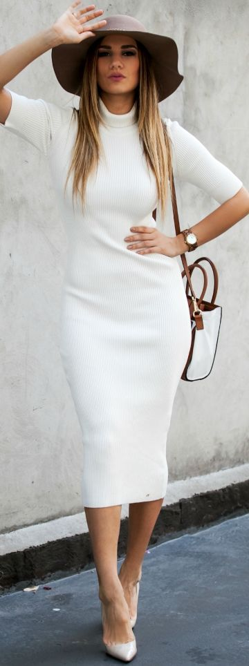 White long Sweater Dress Fall Streetstyle Inspo women fashion .