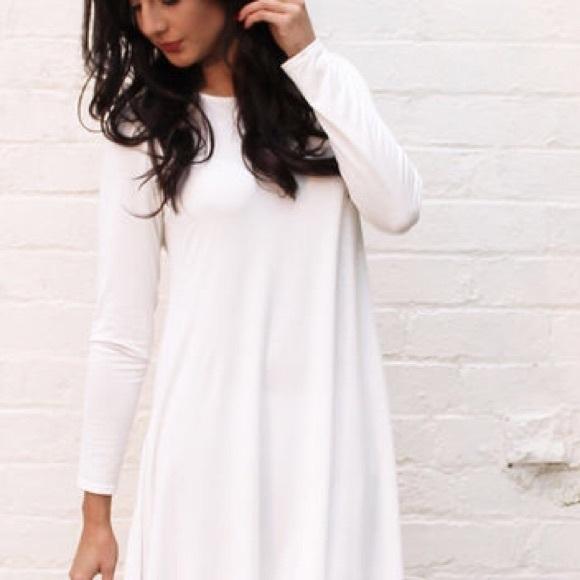 Forever 21 Dresses | White Long Sleeve Swing Dress | Poshma