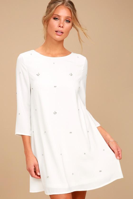 Lovely White Dress - Rhinestone Dress - Swing Dre