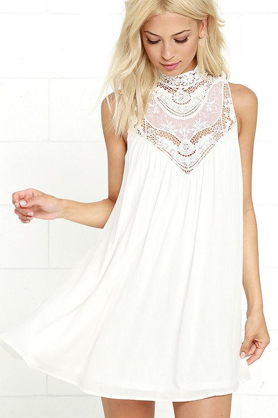 White Dress - Lace Dress - Swing Dress - $48.