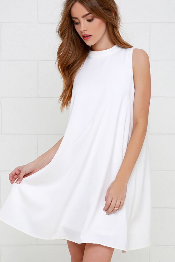 Chic Ivory Dress - Swing Dress - Sleeveless Dress - White Dress .