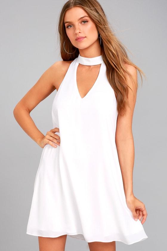 Cute White Dress - Swing Dress - Cutout Dre