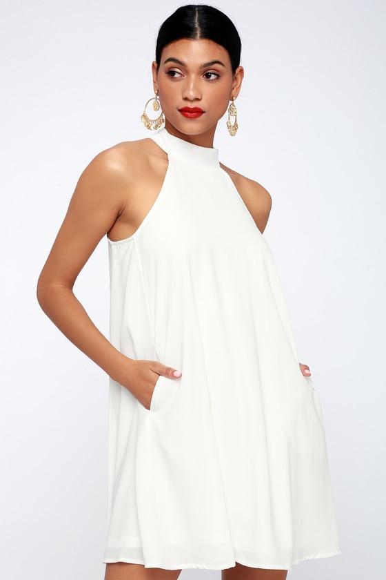 Love of Mine White Halter Swing Dress | White halter dress, White .