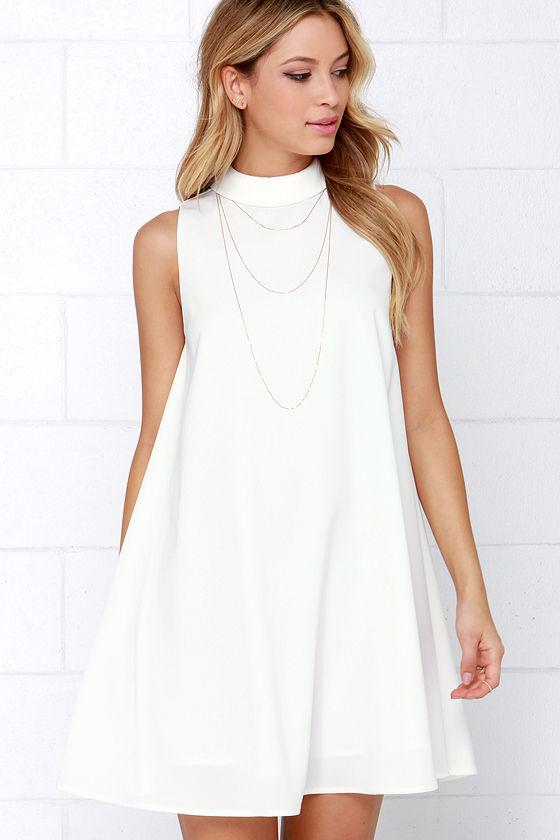 Cute Ivory Dress - Sleeveless Dress - Swing Dress - White Dress .
