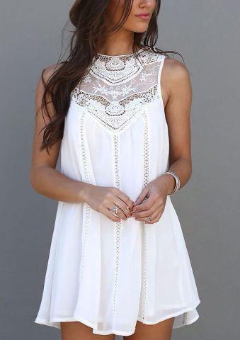 50+ Cute Summer Outfits Ideas For Teens | White tank dress .