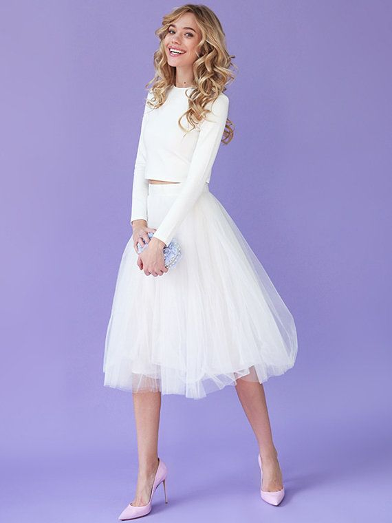 White tulle skirt White tutu skirt Tea-length by NewLovelySkirt .