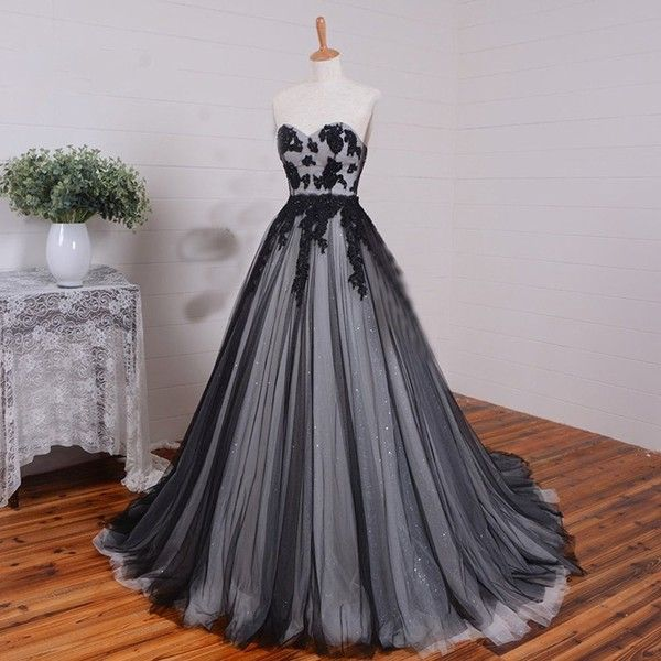 D.W.U Long Black White Tulle Gothic Wedding Dresses Vintage Bridal .