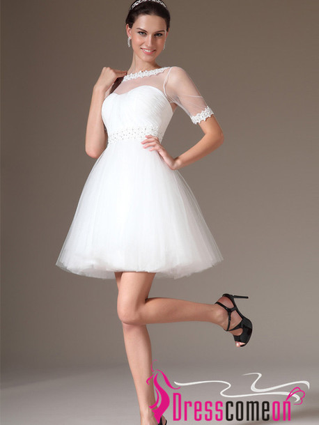 dress, tulle short wedding dress, sleeves white wedding dress .