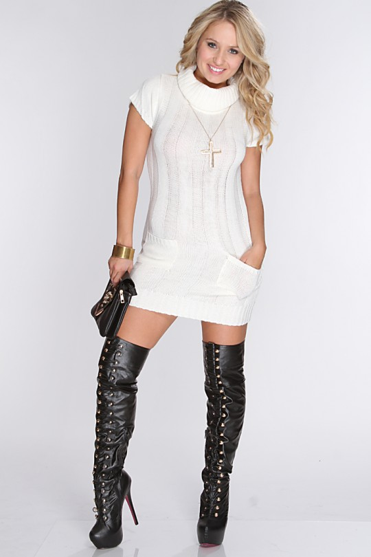 White Knitted Cowl Neck Sweater Dress @ Amiclubwear Clothing,sexy .