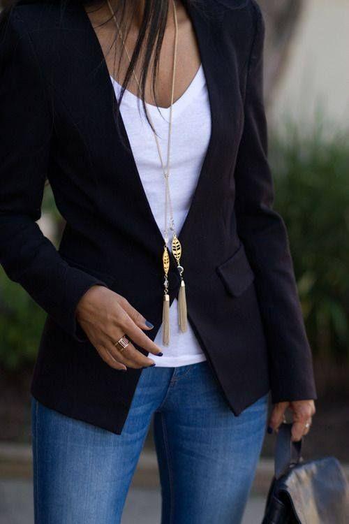 Women's Black Blazer, White V-neck T-shirt, Blue Skinny Jeans .