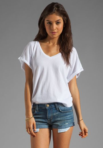 C CALIFORNIA Cap Sleeve Double V-Neck Tee in White at Revolve .