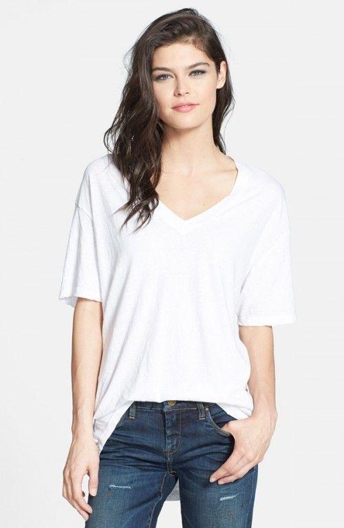Leith Women's Oversized V Neck Tshirt White T Shirt | Shirts, Tops .