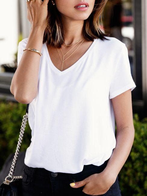 White V Neck Loose T-shirt | White v necks, White cotton t shirts .