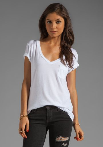 AG ADRIANO GOLDSCHMIED Pocket V Neck Tee in White at Revolve .