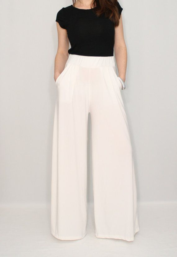 Women pants Wide leg pants Ivory pants with pockets Off white .