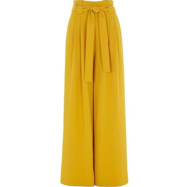 River Island Yellow paper bag waist wide leg pants ($90) ❤ liked .