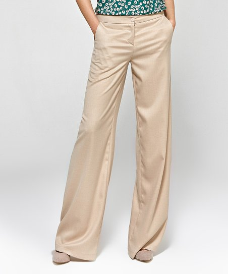 Colett Beige Wide-Leg Pants - Women | Zuli