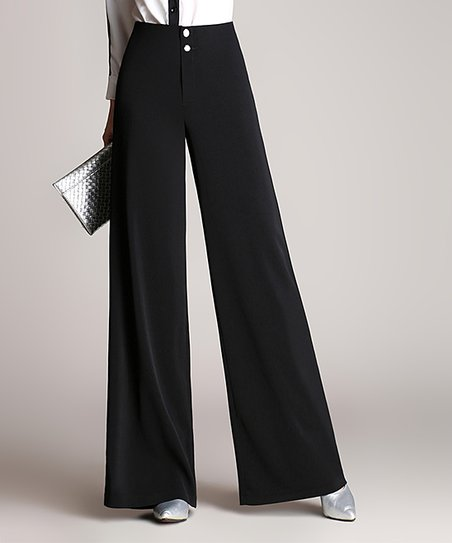 Coeur de Vague Black Double-Button Wide-Leg Pants - Women | Zuli