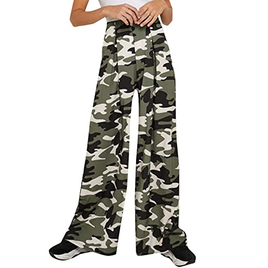 UONQD Women's Summer Camouflage Printed Loose Casual Wide Leg .