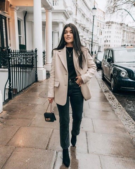 Wool Blend Oversized Blazer in 2020 | Blazer outfits for women .