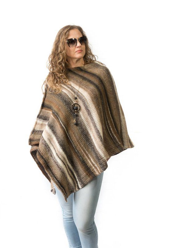 Brown beige hand knitted wool poncho for women, Girlfriend gift .
