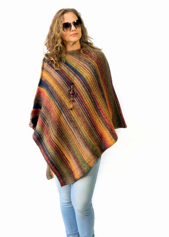 Wool poncho for women hand knit any size | Etsy | Wool poncho .
