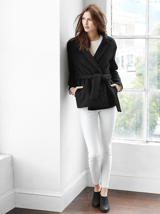 Black and white Wool wrap coat outfit idea @ Gap | Shopping outfit .