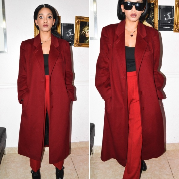 Jackets & Coats | Red Burgundy Wool Long Coat Winter Outfit Ideas .