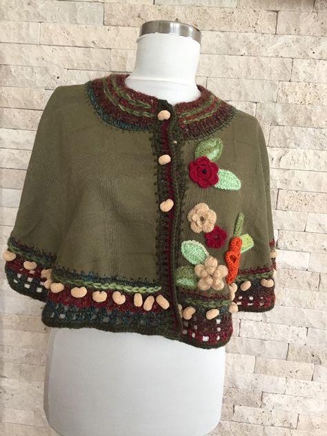 Boho Poncho Cape, poncho for women, Woolen cardigan, Crocheted .