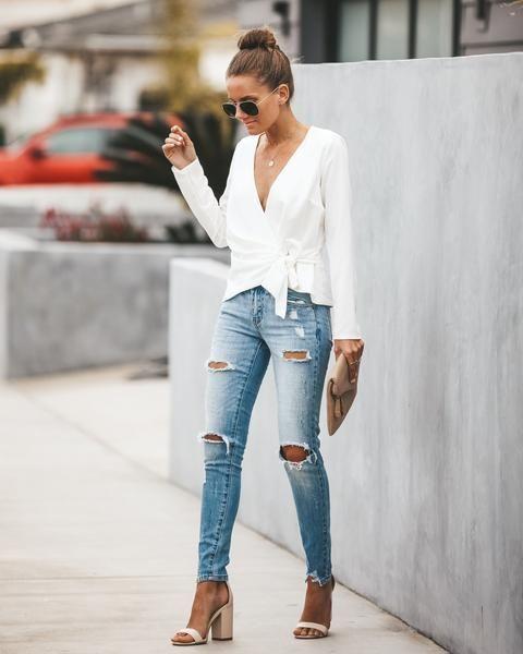 Greatest Love Wrap Blouse - White | Fashion, White wrap blouse .