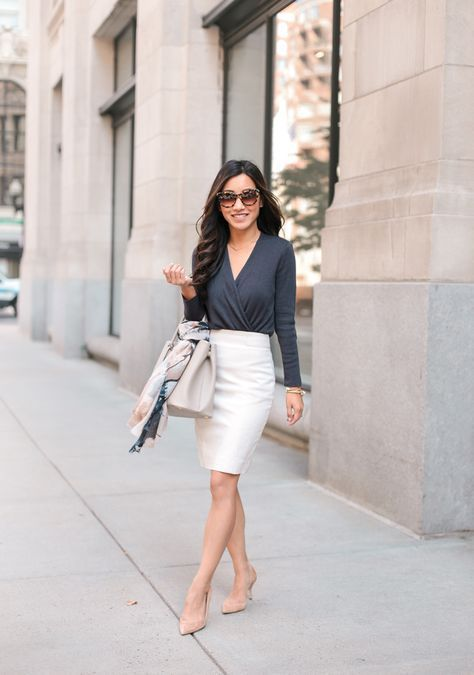 Classy workwear - Convertible wrap cardigan   Classic work outfits .