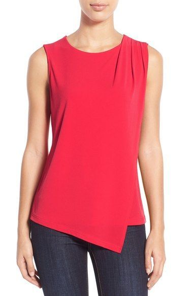 Halogen® Asymmetrical Wrap Front Top (Regular & Petite .