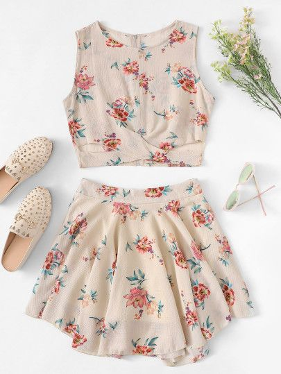 Floral Print Cross Wrap Front Top and Skirt Set -SheIn(Sheinside .