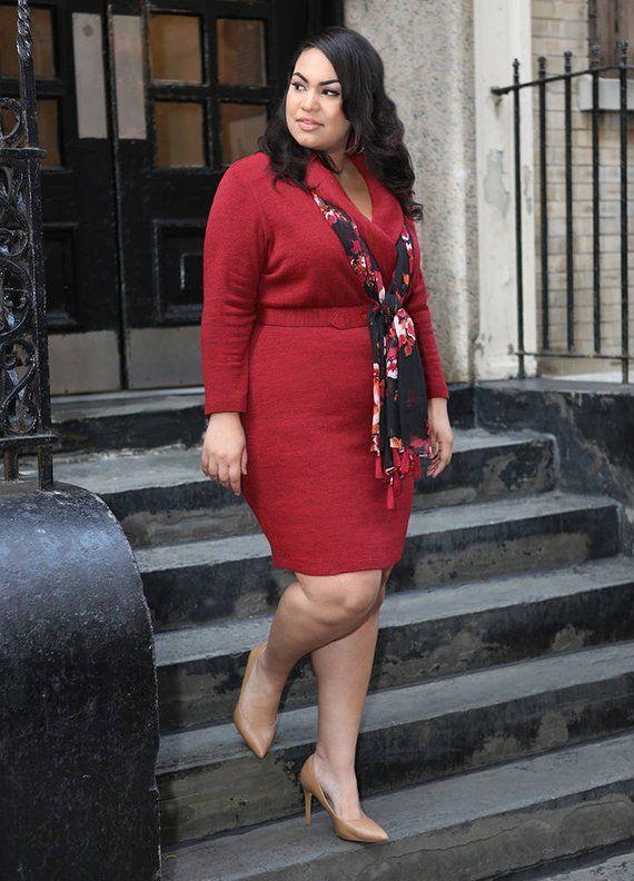 JORDYN Plus Size Sweater Dress Curvy Wrap Dress, Shawl Collar .