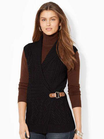 Wrap Shawl-Collar Sweater Vest - Lauren Cardigans - RalphLauren .