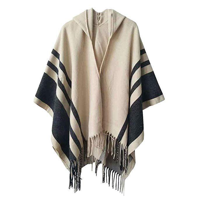 Boyzn Women's Hooded Poncho Capes Winter Sweater Coat Wrap Blanket .