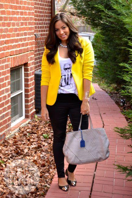 yellow blazer with screen tee and flats | Yellow blazer, Yellow .