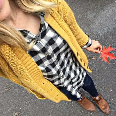 Mustard yellow makes me happy! My exact cardigan is under $14 on .