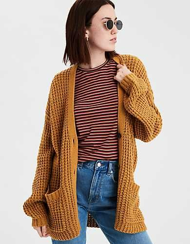 AE Slouchy Waffle Cardigan Sweater | Yellow cardigan outfits .