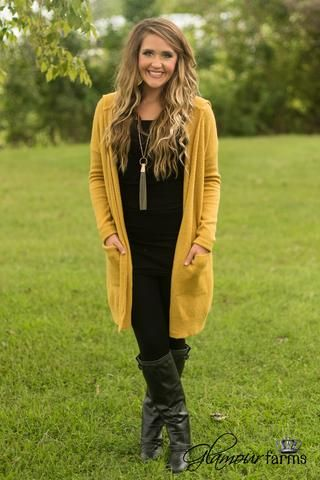 Around The Fire Hooded Cardigan - Mustard | Mustard sweater outfit .