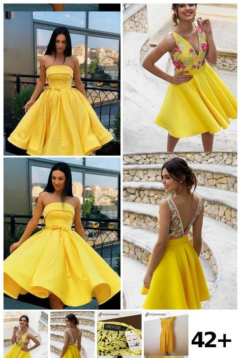 42 Yellow Cocktail Dress Ideas in 2020 | Cocktail dress yellow .