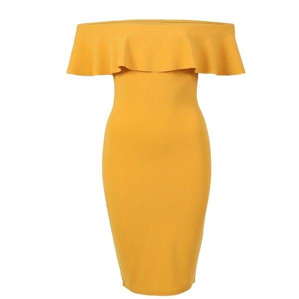 Pilot Deep Frill Bardot Bodycon Mini Dress ($28) ❤ liked on .