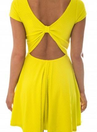 Yellow Cocktail Dress - Yellow Cap Sleeve Skater Dress | Clothes .