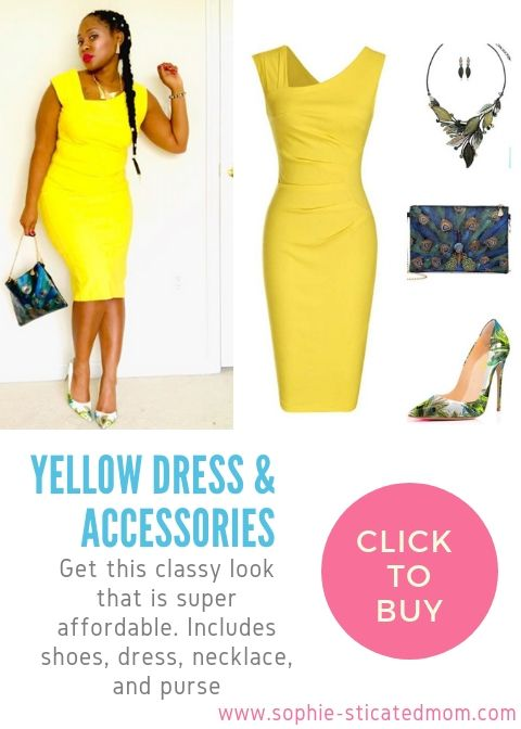 yellow dress outfit ideas on a black girl. Can be work for church .