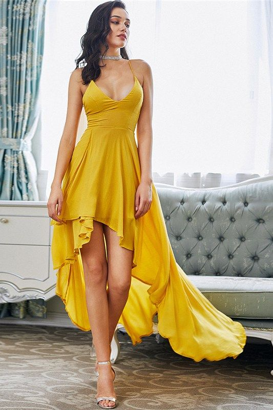 Such a gorgeous, elegant yellow dress! Marigold High Low Gala .