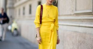 Beautiful yellow midi dress. Street style, street fashion, best .