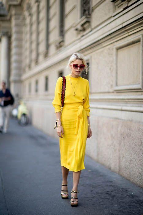 Beautiful yellow midi dress. Street style, street fashion, best .